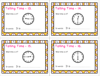 Telling Time task cards - pink set - quarters of an hour