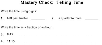 Telling Time, third grade - Individualized Math - worksheets