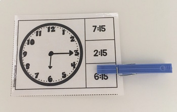 Telling Time to 15 Minutes Clip Cards for Elementary and Special Education