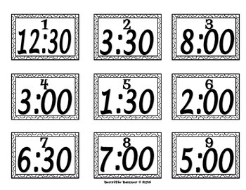 Telling Time to 30 Minute Intervals Scoot Game