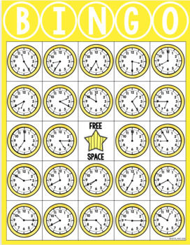 Telling Time BINGO : To 5 Minutes