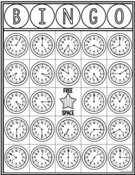 Telling Time BINGO Time To 5 Minutes