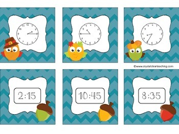 Telling Time to 5 Minutes - Fall Themed Matching Game