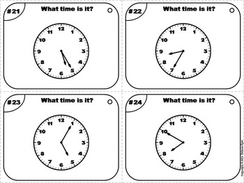 Telling Time to 5 Minutes Task Cards/ Telling Time to Five Minutes Task Cards