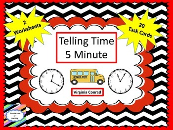 Telling Time to 5 Minutes Task Cards--Back to School