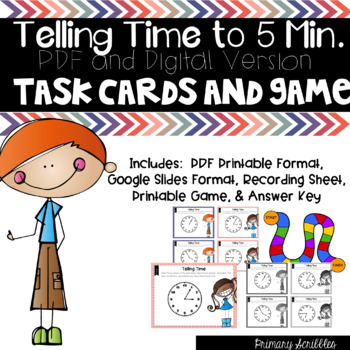 Telling Time to 5 Minutes Task Cards (Digital Too) and The Race Game