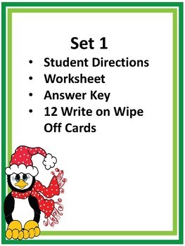 Telling Time to 5 Minutes - Write on Wipe Off Cards, Worksheets, Christmas