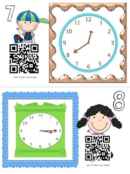 Telling Time to 5 Minutes with QR Codes Self Check