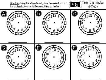 Telling Time to 5 min center - GO MATH! Chapter 7