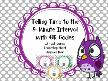 Telling Time (to 5 minute intervals) with QR Codes Task Cards #2