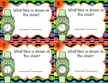 Telling Time to 5 minutes Set 2 w/wo QR Codes