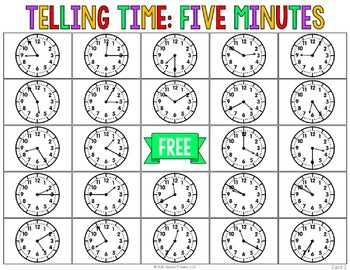 Telling Time to Five Minutes Activity: Telling Time Bingo Game (2.MD.7)