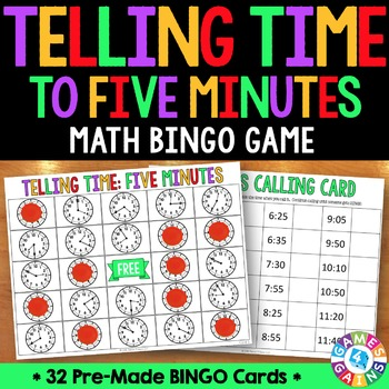 Telling Time to Five Minutes Activity: Telling Time Bingo