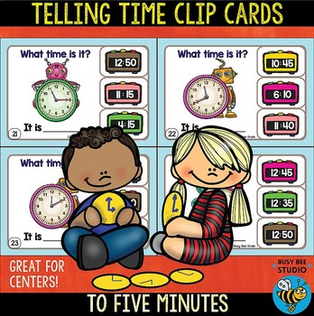 Telling Time to Five Minutes Clip Cards