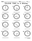 Telling Time to Five Minutes Worksheet