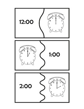 Telling Time to Hour Matching Puzzle