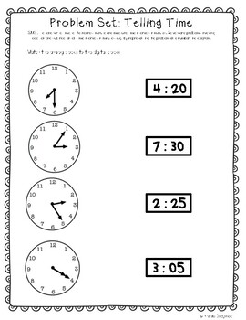 Telling Time to Nearest 5 Minutes and 1 Minute