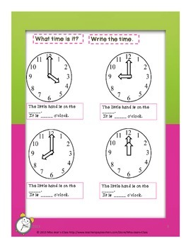 Telling Time to The Nearest Hour - Student Practice Book A