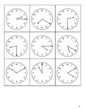 Telling Time to five minutes bingo sheets