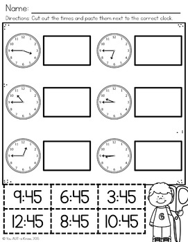 Telling Time to the :45 Generalization Pack