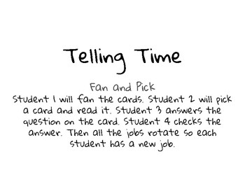 Telling Time to the 5 Minute Fan and Pick