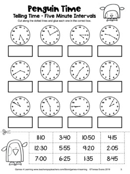 Telling Time to the 5 Minutes Worksheet: Free Time Cut and Paste