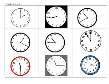 Telling Time to the Five Minute Bingo