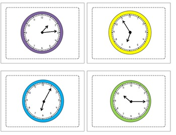 Telling Time to the Five Minute Interval Matching Game