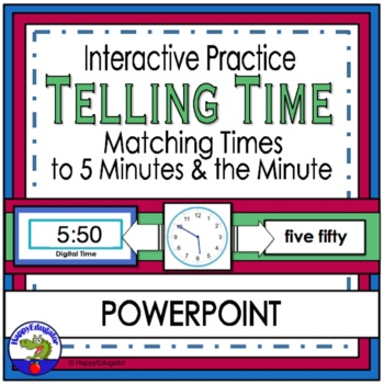 Telling Time to the Five Minute and Minute  (Digital and Analog) PowerPoint