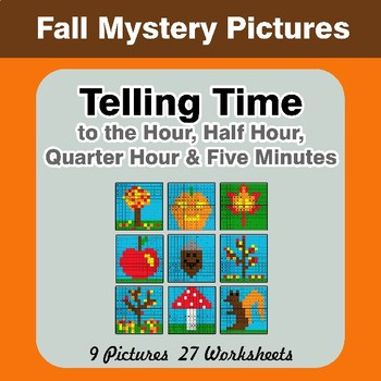 Telling Time to the Five Minutes - Autumn Math Mystery Pictures