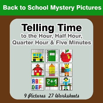 Telling Time to the Five Minutes - Back To School Mystery Pictures
