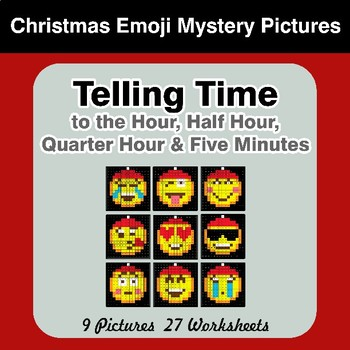 Telling Time to the Five Minutes - Christmas Emoji Math Mystery Pictures
