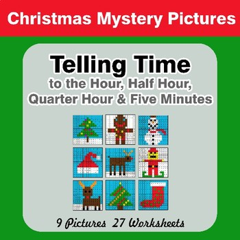 Telling Time to the Five Minutes - Christmas Mystery Pictures