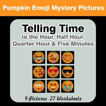 Telling Time to the Five Minutes - Halloween Emoji Math Mystery Pictures