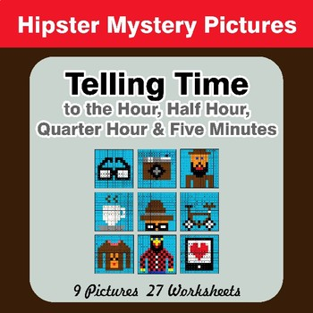 Telling Time to the Five Minutes - Hipsters Math Mystery Pictures