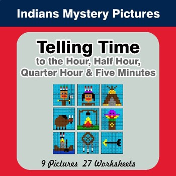 Telling Time to the Five Minutes - Indians Math Mystery Pictures