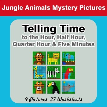 Telling Time to the Five Minutes - Jungle Animals Math Mystery Pictures