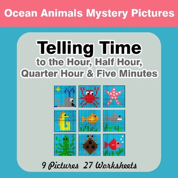 Telling Time to the Five Minutes - Ocean Animals Math Mystery Pictures