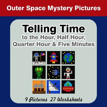 Telling Time to the Five Minutes - Outer Space Math Mystery Pictures