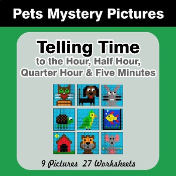 Telling Time to the Five Minutes - Pets Math Mystery Pictures
