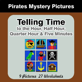 Telling Time to the Five Minutes - Pirates Math Mystery Pictures