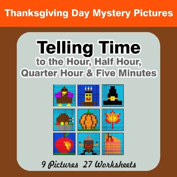 Telling Time to the Five Minutes - Thanksgiving Mystery Pictures