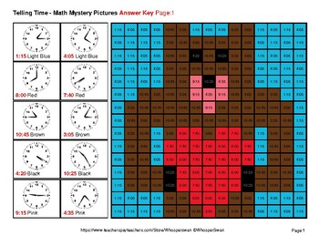 Telling Time to the Five Minutes - Valentine's Day Math Mystery Pictures