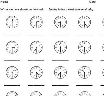 Telling Time to the Half Hour (10 worksheets) - by Sinh Trinh