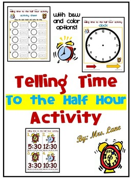 Telling Time to the Half Hour Activity