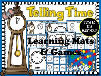 Telling Time to the Half-Hour ~ Bundle of Math Center Activities