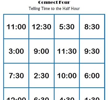 Telling Time to the Half Hour - Connect 4 Game