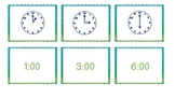 Telling Time to the Half Hour Matching Game