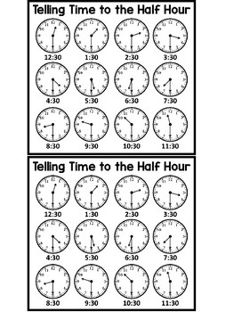 Telling Time to the Half Hour Math Game
