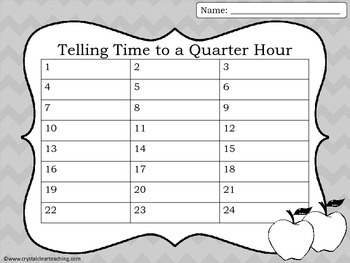 Telling Time to the Half Hour & Quarter Hour - Fall Themed Task Cards